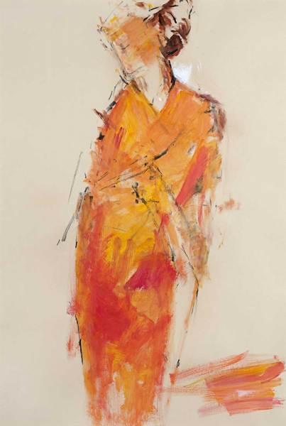 Woman in Orange Kimono