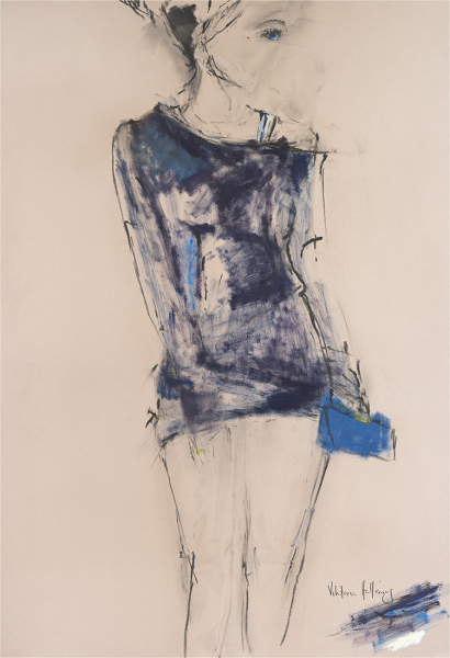 Woman with Blue Purse