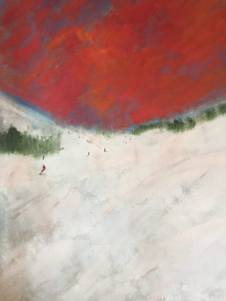 Skiers under the Red Sky